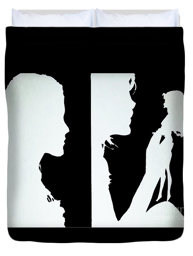 Art Duvet Cover featuring the painting Memories 1 And 2 by Nour Refaat