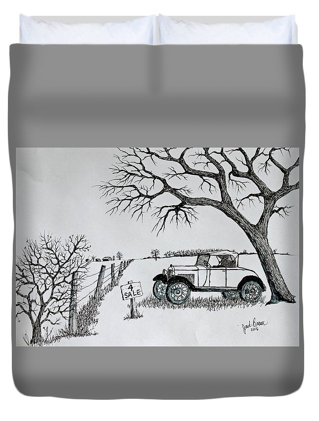 Jack Brauer Duvet Cover featuring the drawing Memories For Sale by Jack G Brauer