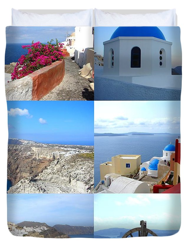 Santorini Duvet Cover featuring the photograph Memories From Santorini by Ana Maria Edulescu