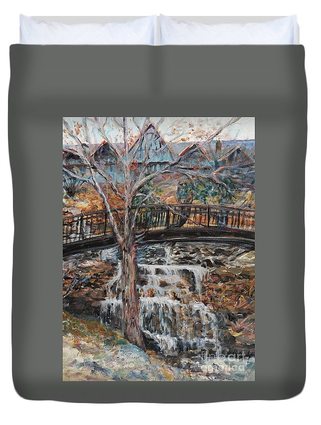 Waterfalls Duvet Cover featuring the painting Memories by Nadine Rippelmeyer