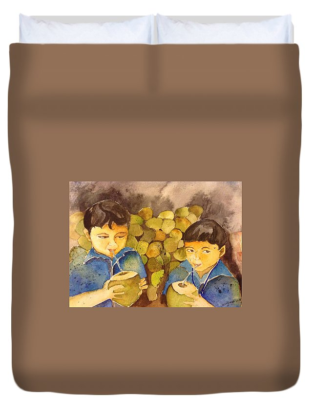 Friends Duvet Cover featuring the painting Memories by Namitaa Pradeep