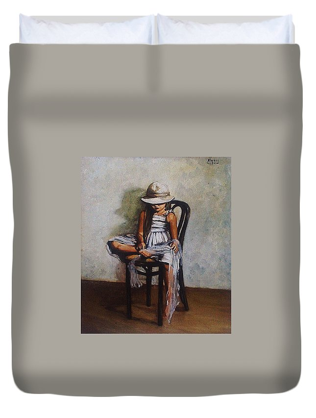 Girl Duvet Cover featuring the painting Memories by Natalia Tejera