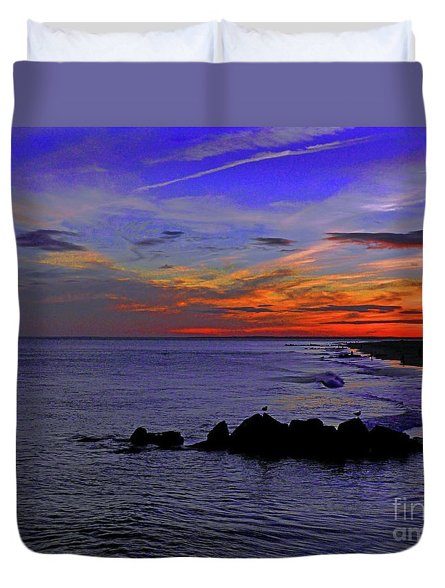 Seagulls Duvet Cover featuring the photograph Just The Two Of Us by Kendall EUTEMEY