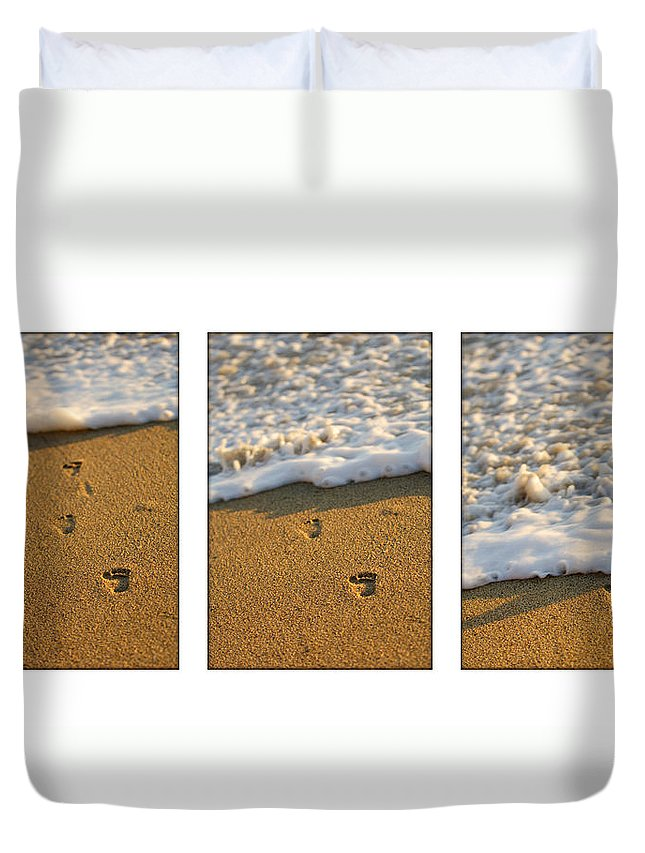 Beach Duvet Cover featuring the photograph Memories Washed Away by Jill Reger