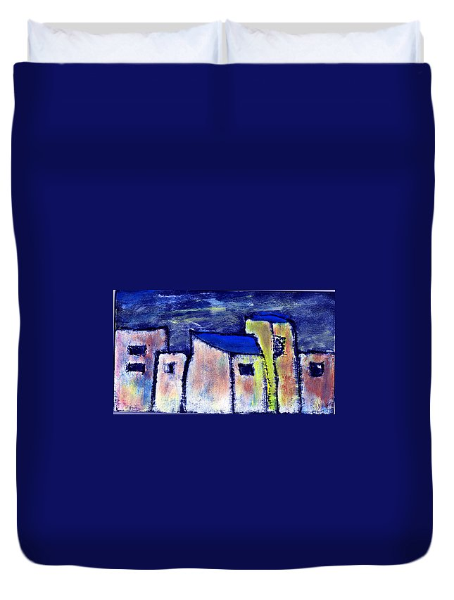 Buidings Duvet Cover featuring the painting Memories by Wayne Potrafka