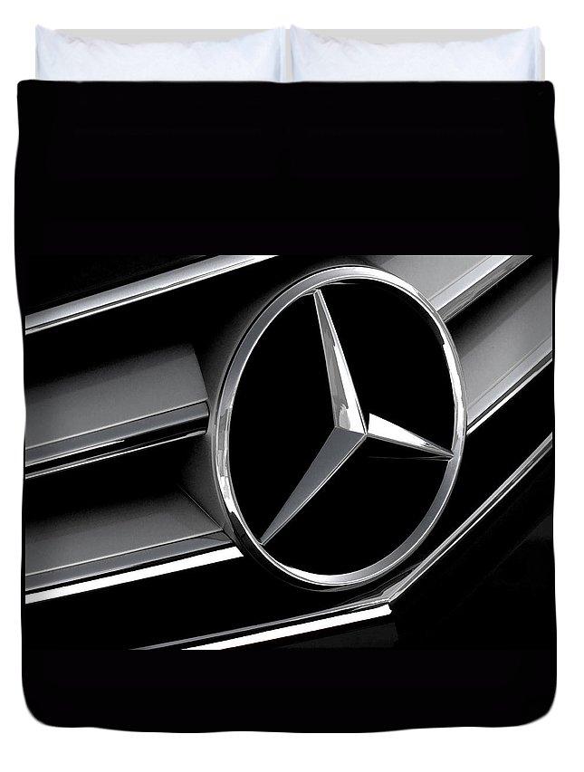Automotive Duvet Cover featuring the digital art Mercedes Badge by Douglas Pittman