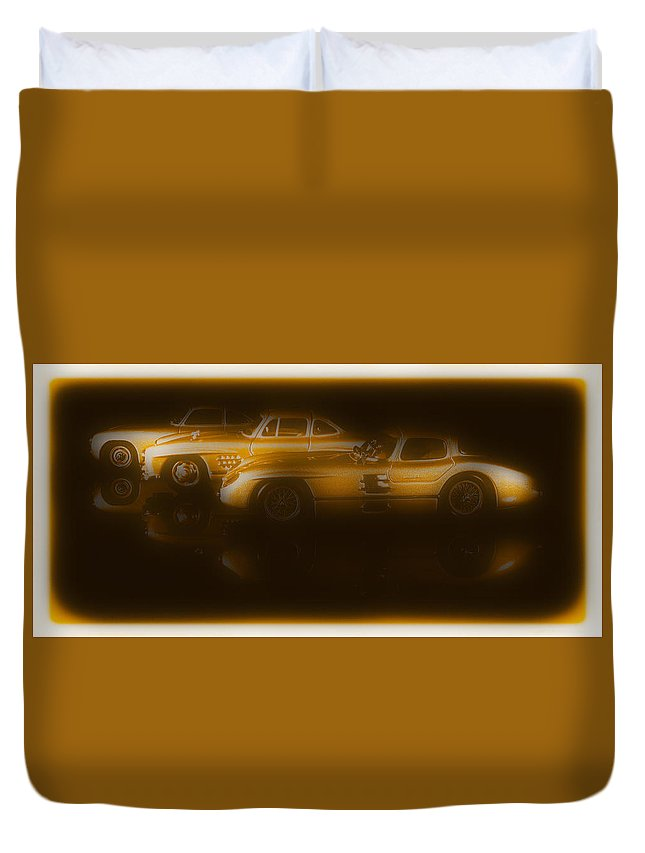 Mercedes Duvet Cover featuring the photograph Mercedes Benz 300sl Triple by Thomas Piller