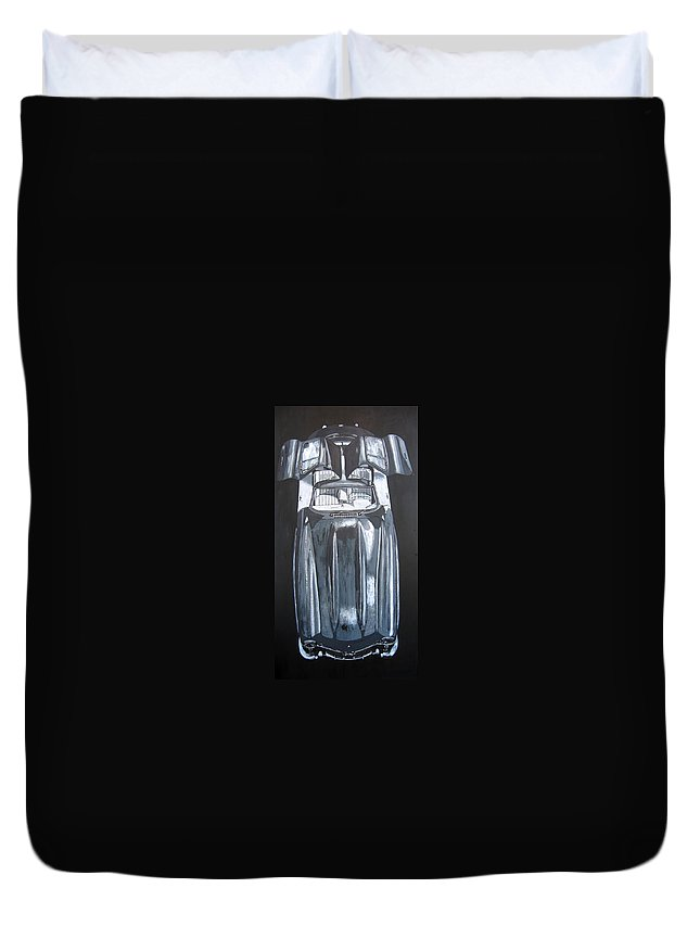 Car Duvet Cover featuring the painting Mercedes Benz Gullwing by Richard Le Page