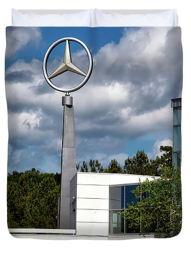 Mercedes-benz Duvet Cover featuring the photograph Mercedes - Benz Plant by Mountain Dreams