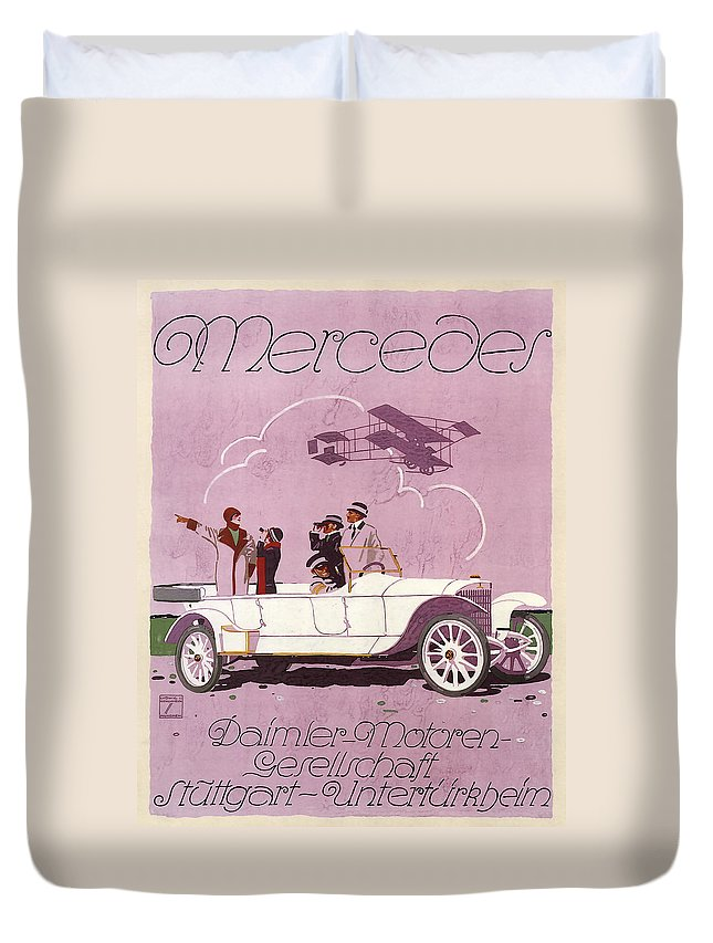 vintage Ads Duvet Cover featuring the photograph Mercedes Daimler C. 1910 by Daniel Hagerman
