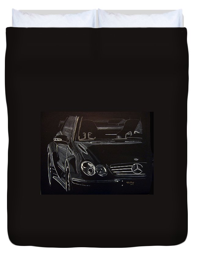 Merc Duvet Cover featuring the painting Mercedes Sl by Richard Le Page