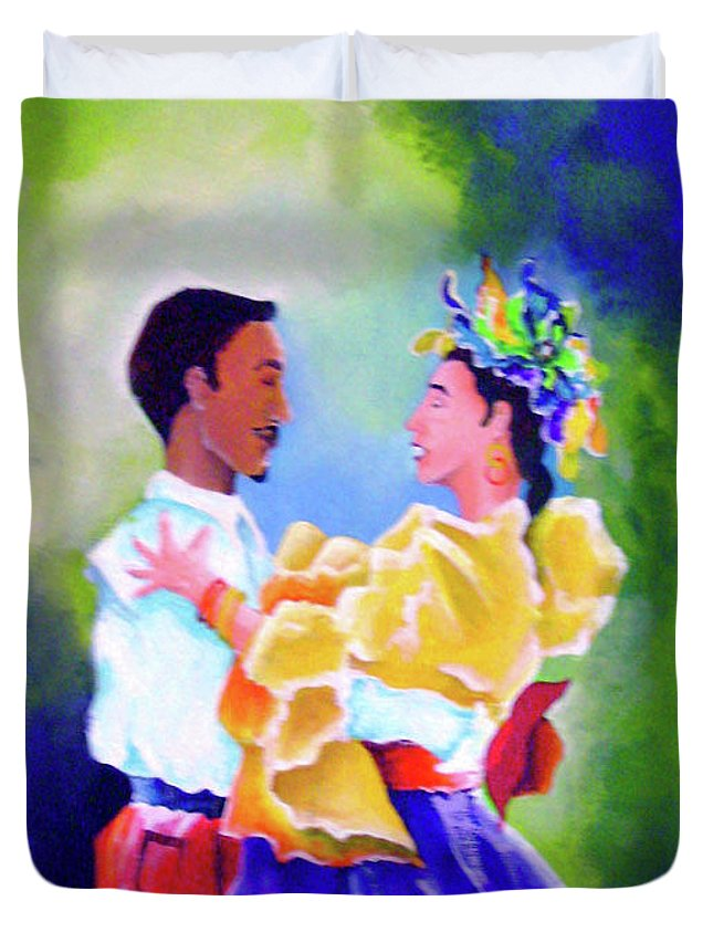 Conceptual Duvet Cover featuring the painting Merengue Rythm by Arides Pichardo