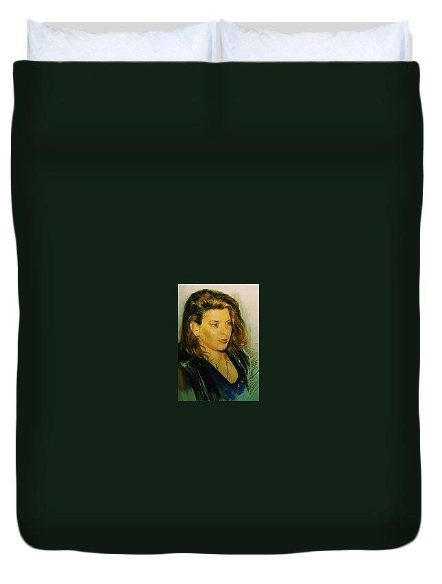Portrait Duvet Cover featuring the pastel Meri by Sefedin Stafa