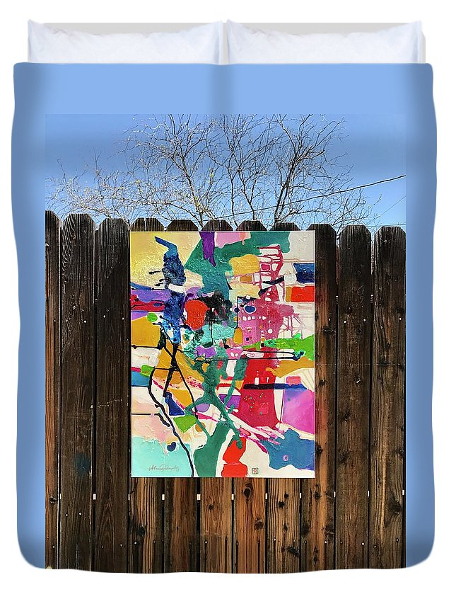 Abstract Duvet Cover featuring the painting Meridian by Atanas Karpeles
