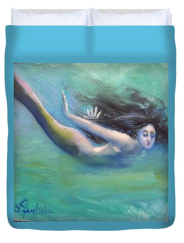 Mermaid Duvet Cover featuring the painting Mermaid Freedom by Susan Jenkins