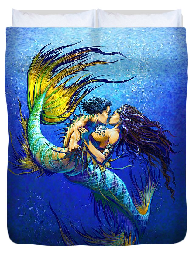 Mermaid Duvet Cover featuring the painting Mermaid Kiss by Stanley Morrison