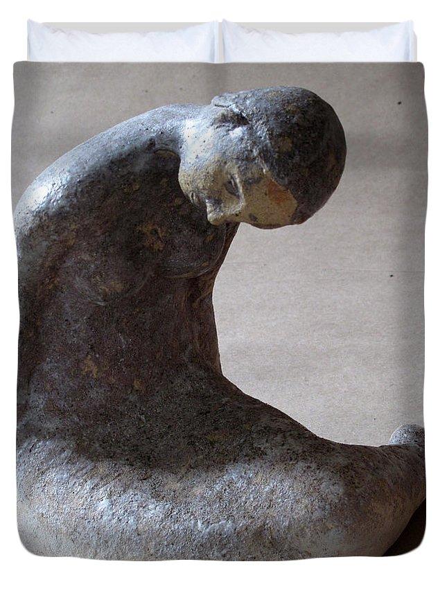Sculpture Duvet Cover featuring the sculpture Mermaid by Raimonda Jatkeviciute-Kasparaviciene