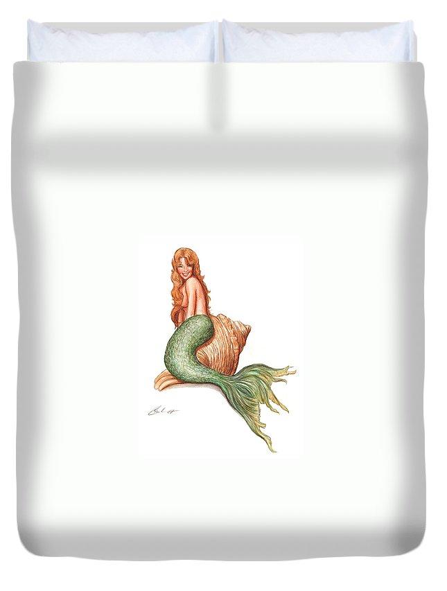 Mermaid Art Bruce Lennon Duvet Cover featuring the painting Mermaid Shell by Bruce Lennon