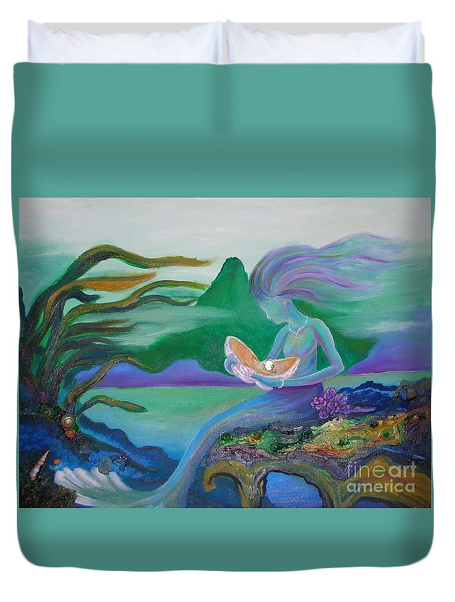Mermaid Duvet Cover featuring the painting Mermaid With Oyster by Morgan Leshinsky