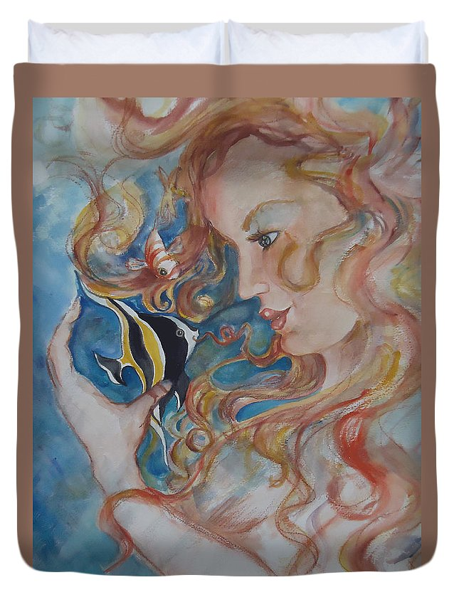 A Kiss From The Mermaid To A Morish Idol. Mermaid Duvet Cover featuring the painting Mermaids Kiss by Charme Curtin