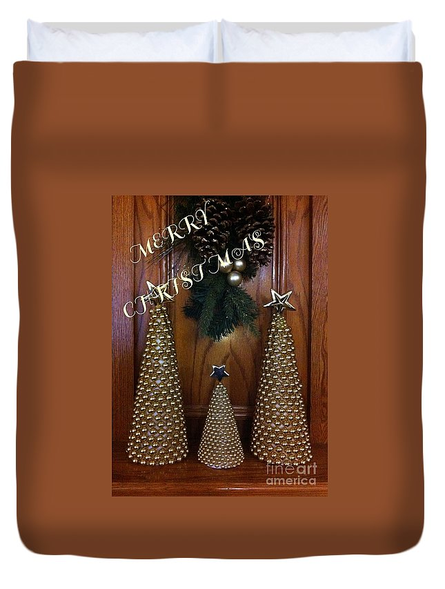 Merry Christmas Trees Duvet Cover featuring the photograph Merry Christmas Trees by Barbara Griffin