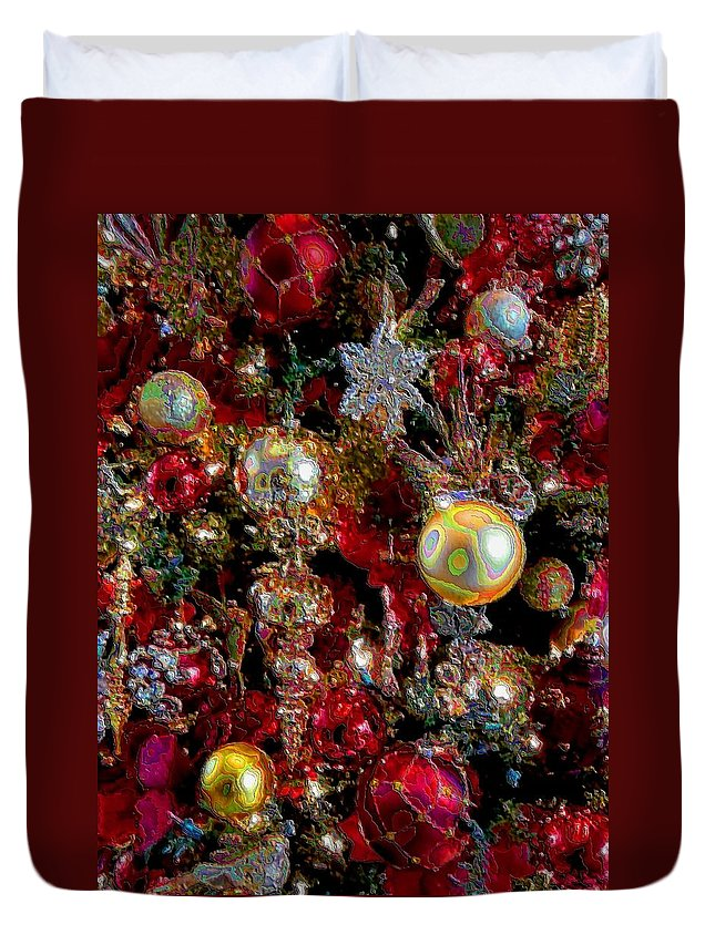 Christmas Card Christmas Red Traditional Duvet Cover featuring the painting Merry Christmas1 by Kipling Collins