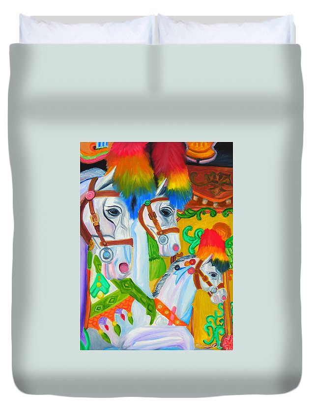 Carosel Duvet Cover featuring the painting Merry Go Round by Michael Lee