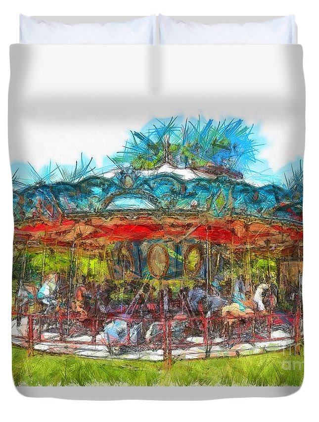 Amusement Duvet Cover featuring the photograph Merry Go Round Pencil by Edward Fielding