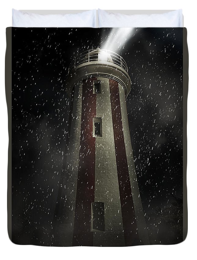 Lighthouse Duvet Cover featuring the digital art Mersey Bluff Lighthouse In Devonport. Fine Art by Jorgo Photography - Wall Art Gallery