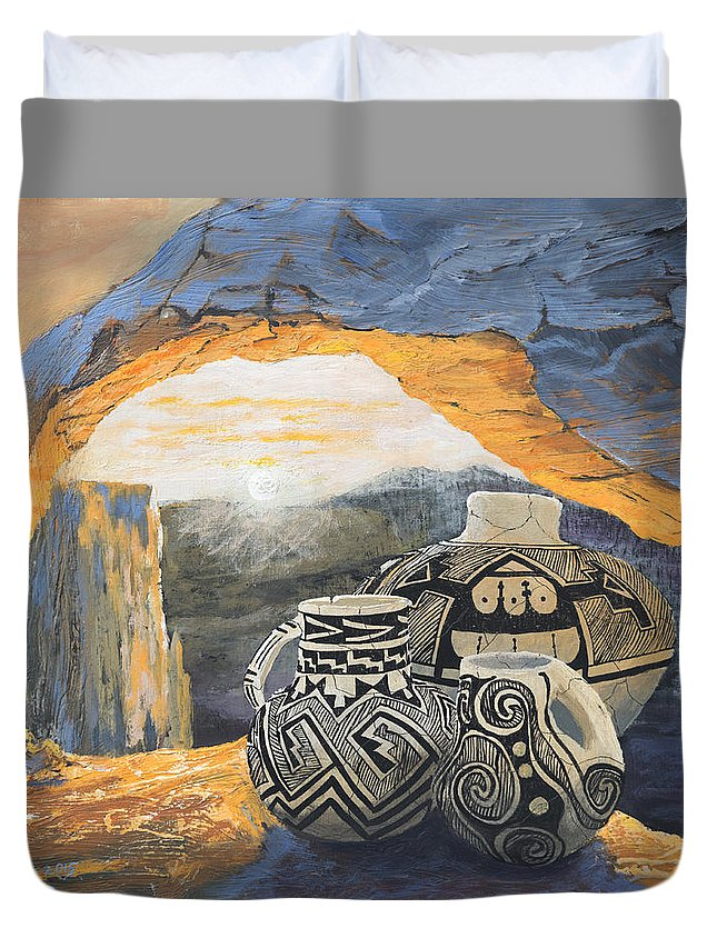 Native American Duvet Cover featuring the painting Mesa Arch Magic by Jerry McElroy