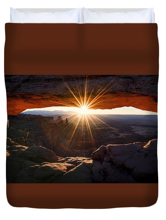 Mesa Glow Duvet Cover featuring the photograph Mesa Glow by Chad Dutson