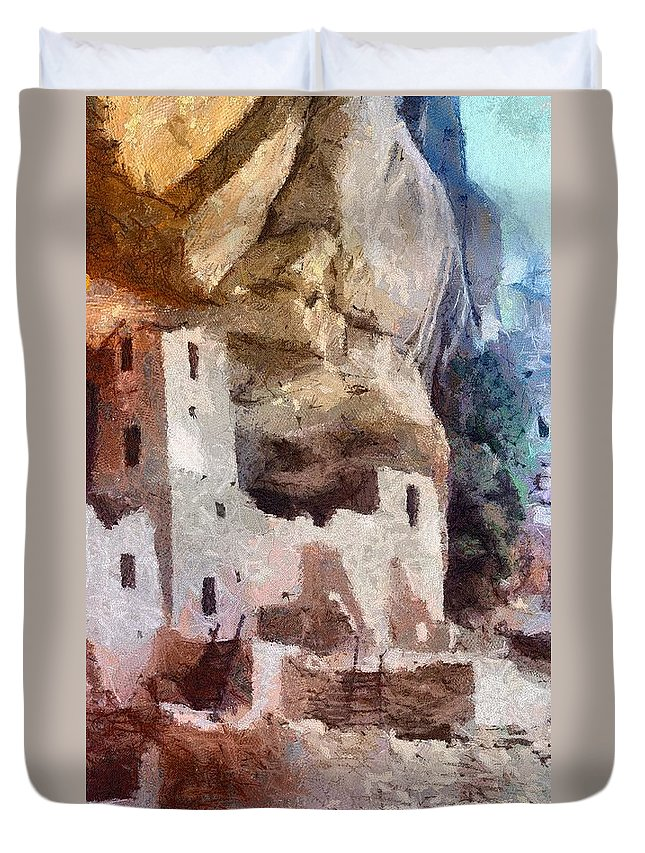 American Southwest Duvet Cover featuring the painting Mesa Verde by Jeffrey Kolker