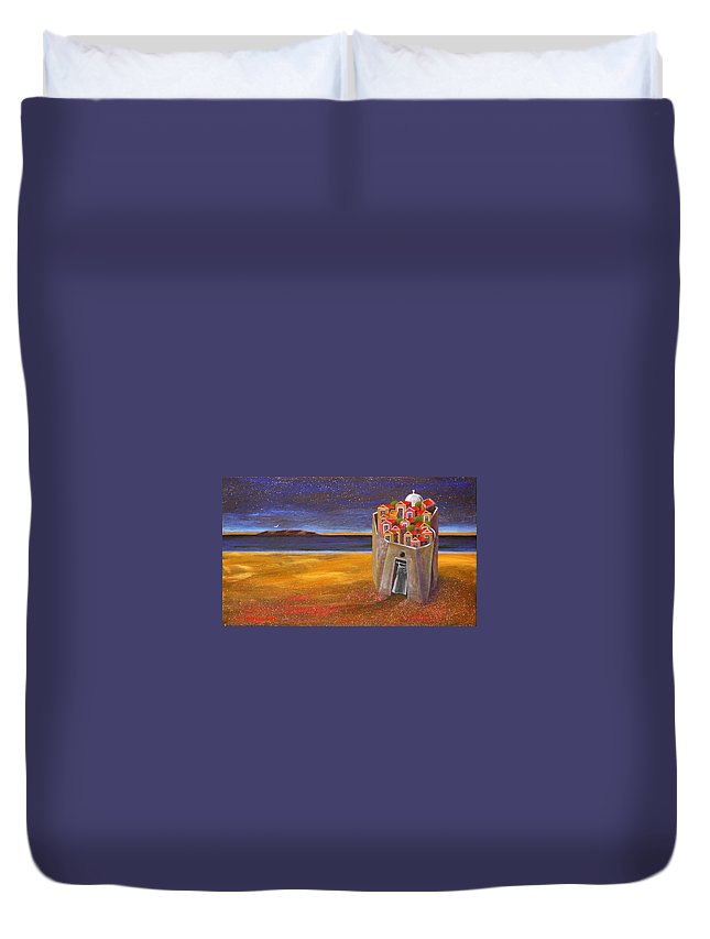 Superrealism Duvet Cover featuring the painting Mesi Castle Village by Dimitris Milionis