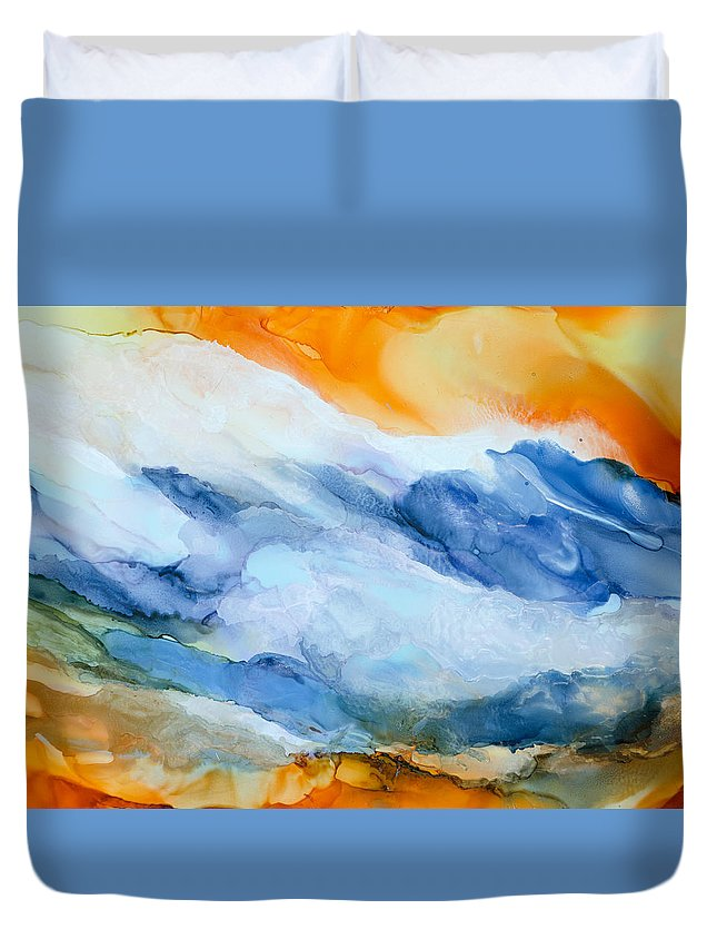 Abstract Duvet Cover featuring the painting Mesmerized - A by Sandy Sandy