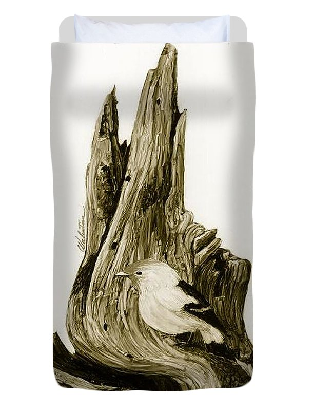 Bird Resting Comfortably On Prismacolor Permanent Pen Mesquite Burl Image Duvet Cover featuring the drawing Mesquite Burl by Charles Valentine
