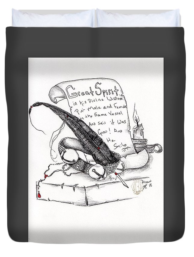 Prayer Duvet Cover featuring the drawing Message by Drew O'Dailey