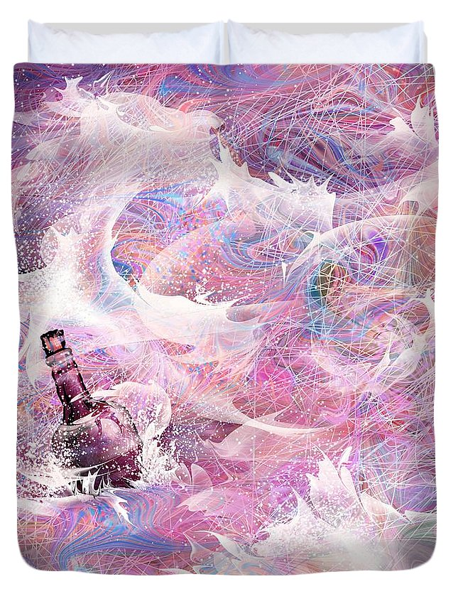 Message Duvet Cover featuring the digital art Message In A Bottle by Rachel Christine Nowicki
