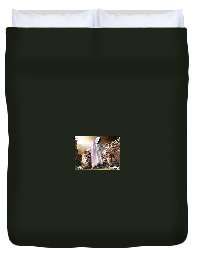 Spiritual Duvet Cover featuring the digital art Messiah Israel And Judah by Bill Stephens