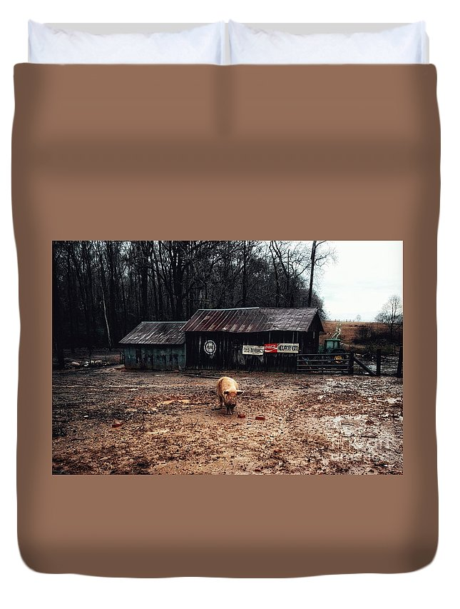 Pig Farm Duvet Cover featuring the photograph Messy Pig Farm Lot by John Myers
