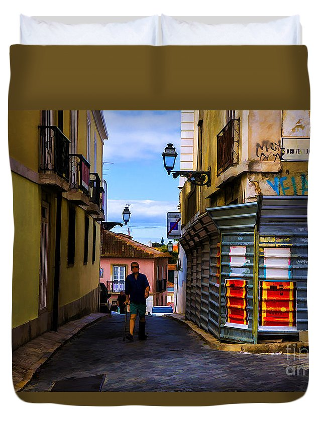 Lisbon High City Portugal Duvet Cover featuring the photograph Metal Corners by Rick Bragan