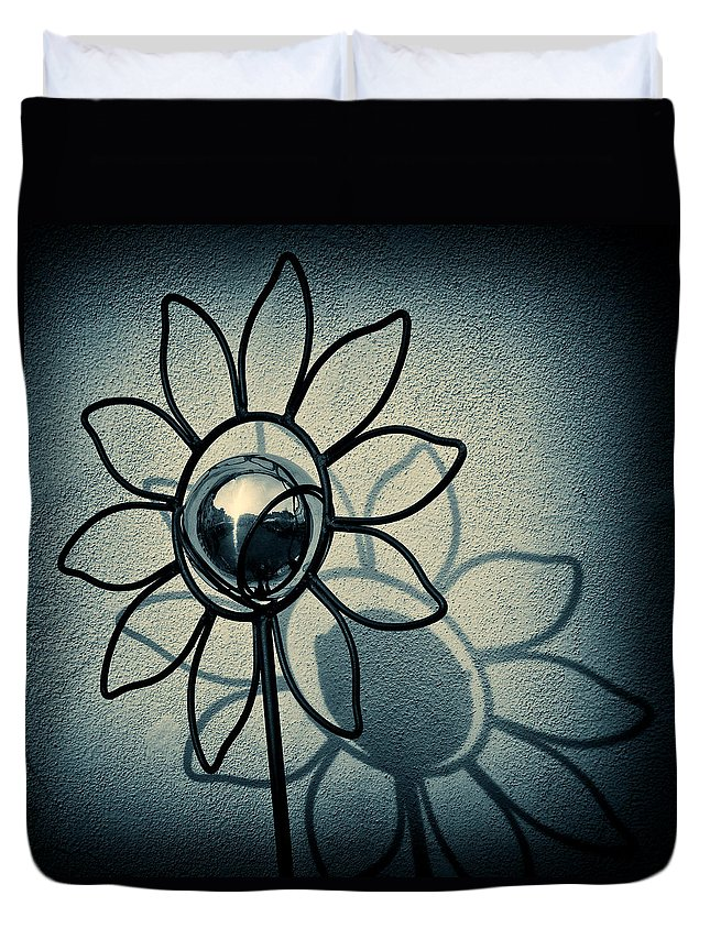 Sunflower Duvet Cover featuring the photograph Metal Flower by Dave Bowman