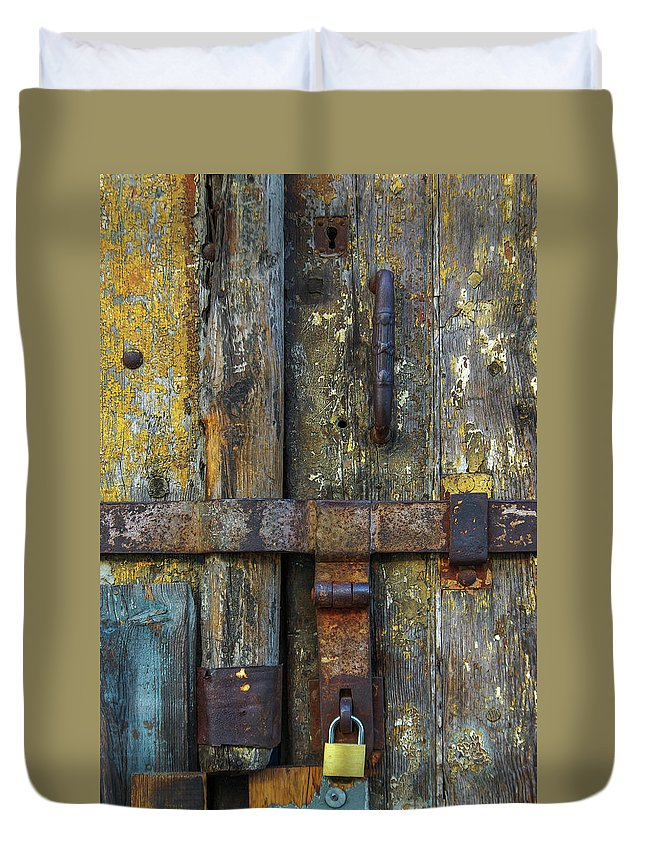 Door Duvet Cover featuring the photograph Metal Locks by Carlos Caetano