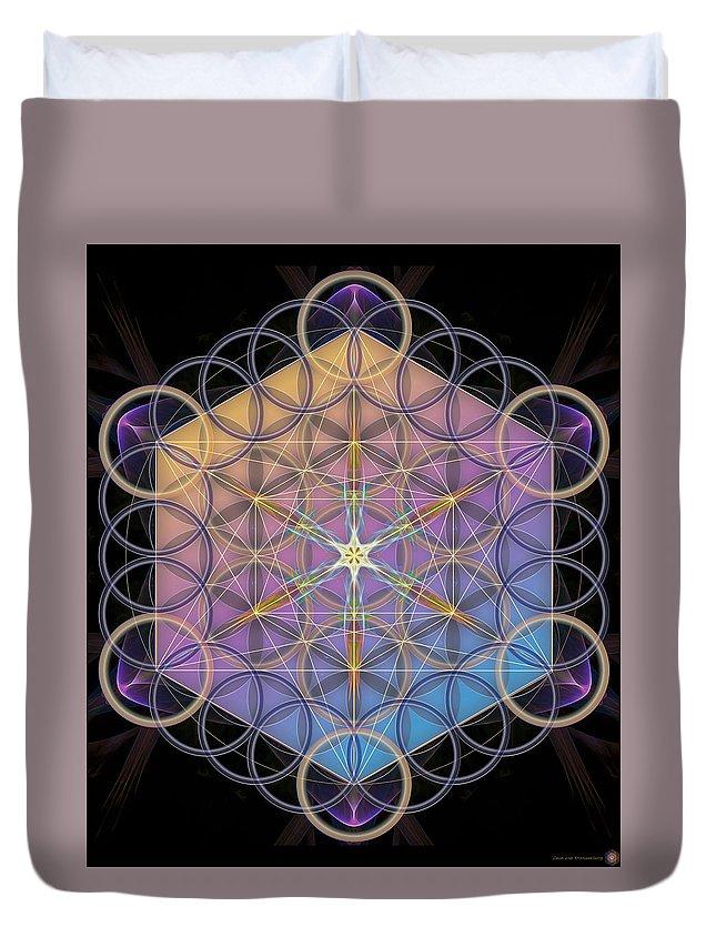 Flower Of Life Duvet Cover featuring the digital art Metatrons Cube by Leon Van Kraayenburg