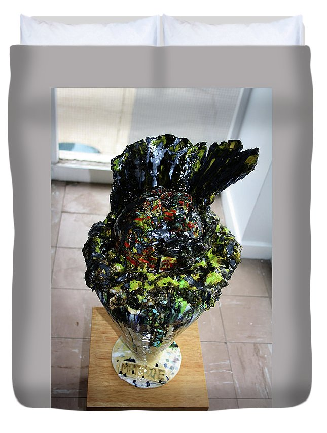 Jesus Duvet Cover featuring the sculpture Methadone Explosion View Three by Gloria Ssali