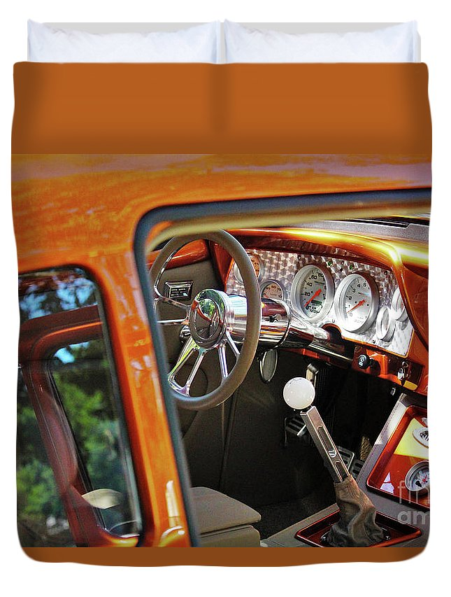 Car Duvet Cover featuring the photograph Meticulous Car Interior by Laura Birr Brown