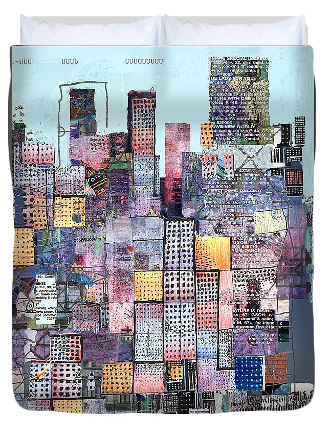 Metro Duvet Cover featuring the digital art Metropolis 3 by Andy Mercer