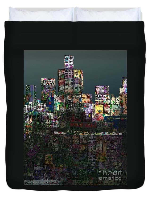City Duvet Cover featuring the digital art Metropolis After The Storm by Andy Mercer