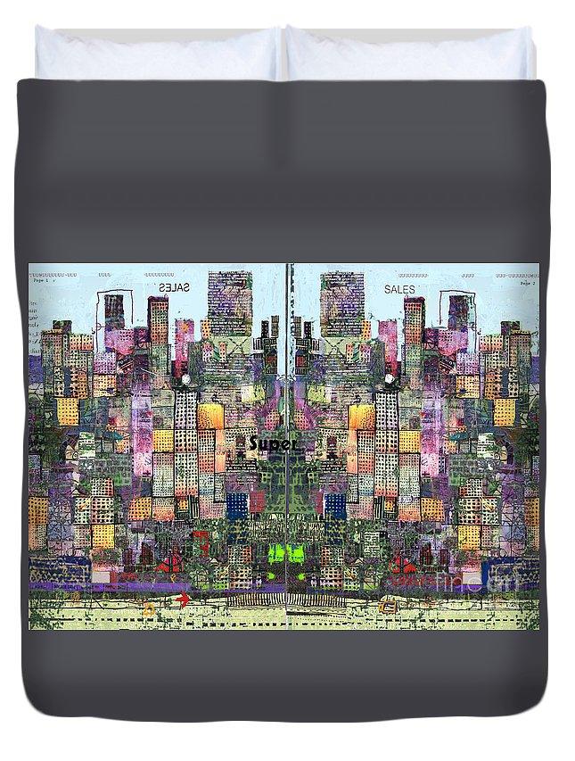 Metro Duvet Cover featuring the digital art Metropolis Vi by Andy Mercer