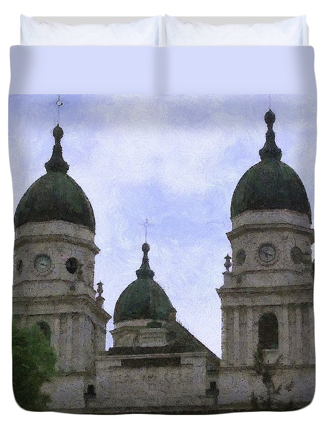 Chapel Duvet Cover featuring the painting Metropolitan Cathedral by Jeffrey Kolker