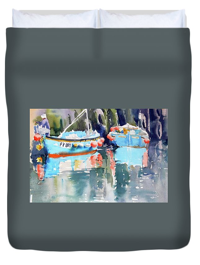 Mevagissey Harbour Duvet Cover featuring the painting Mevagissey Harbour by Ibolya Taligas